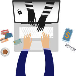 A thief's hands reaching out of a laptop screen while the owner types on the laptop, illustrating the online banking scam.